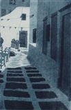 Courtyard, Mykonos by keith hunter, Artist Print, Etching and aquatint