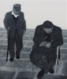Father and son, Mykonos, Greece by keith hunter, Artist Print, Etching with aquatint