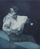Gaida Player, Mykonos, Greece 2 by keith hunter, Artist Print, Etching with aquatint