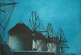 Mykonos windmills by keith hunter, Artist Print
