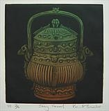 Shang Vessel by keith hunter, Artist Print, Mezzotint, hand-coloured